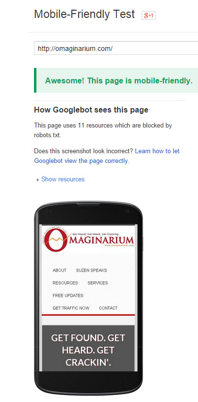 Omaginarium Mobile Friendly Test